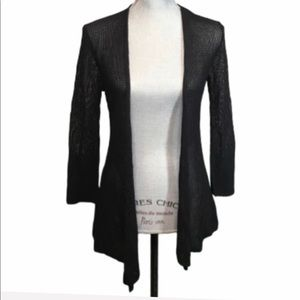 Nic + Zoe Black Net Open Cardigan Size Small